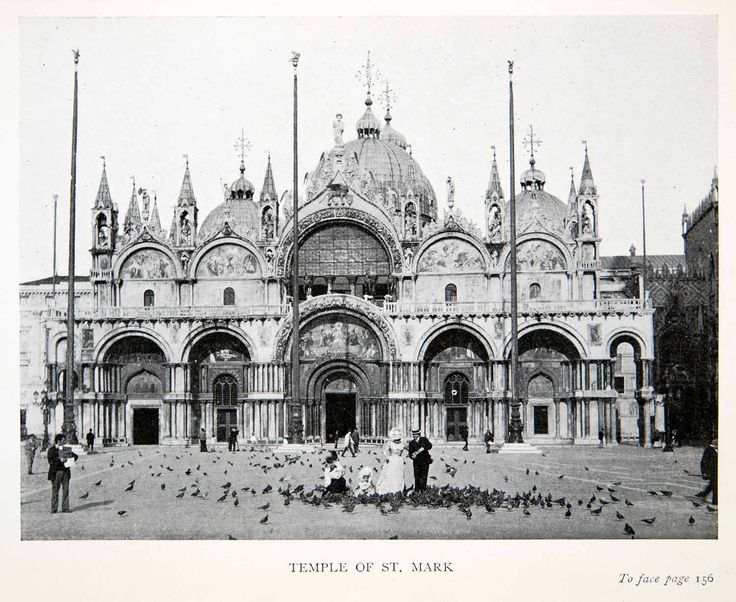 This is an original 1907 black and white halftone print of the facade of St. Mark's Basilica (Basilica di San Marco) which can be found on St. Mark's Square in Venice (Venezia), Italy. This basilica w
