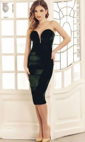 Rochie catifea verde de seara midi eleganta cu spate gol