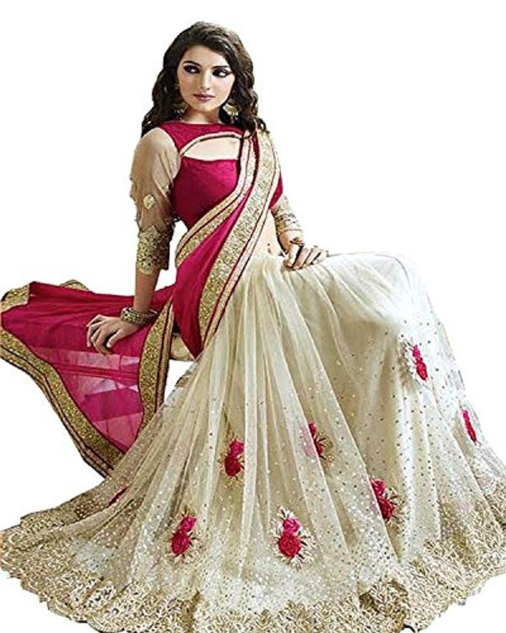 Women's Fashionable Saree Price:$26.99 Bollywood saree, Pallu georgette, Skirt net with glitter