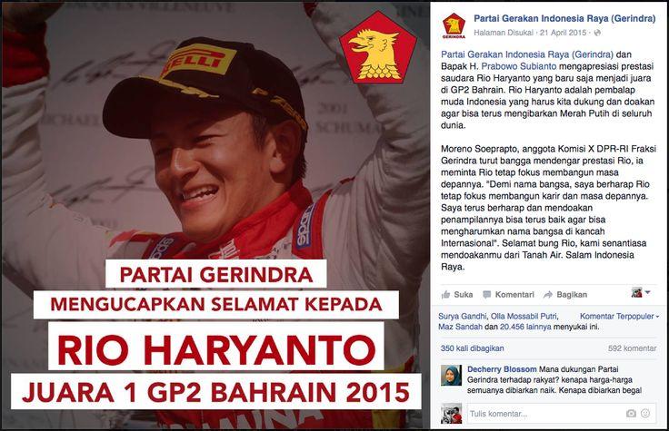 """Rio Haryanto dan Formula 1, Wujud """"Diplomasi Ekonomi"""" Indonesia di Pentas Dunia"""