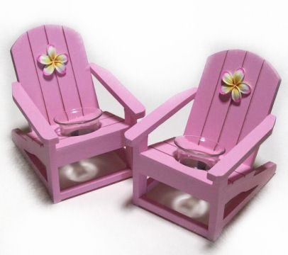 Frangipani Deck Chair T-lite Holders available in 3 different colours, fabulous table decorations or gift options for those frangipani lovers