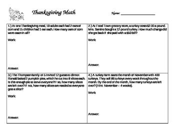 FREE Thanksgiving Multistep Word Problems (with flipchart)