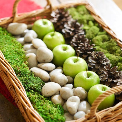 moss, rocks, apples, pinecones in basket for centerpiece