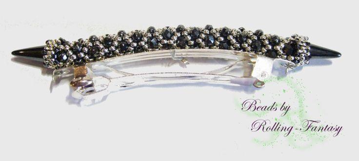 Haarspange in schwarz - silber aus Glasperlen von Beads by Rolling-Fantasy auf DaWanda.com