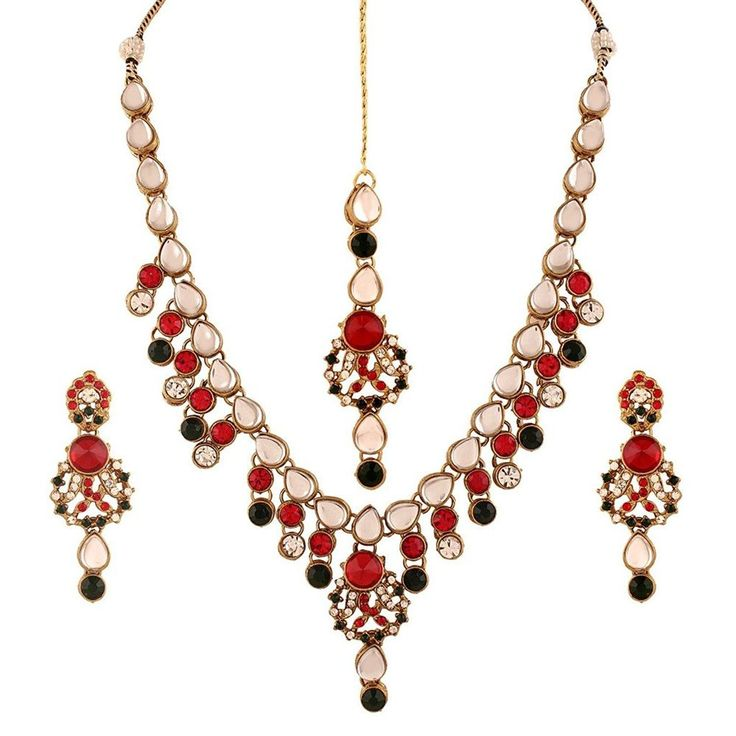 Ethnic Indian Party Wear Gold Plated Red Green Stone Bollywood Jewelry Set #natural_gems15