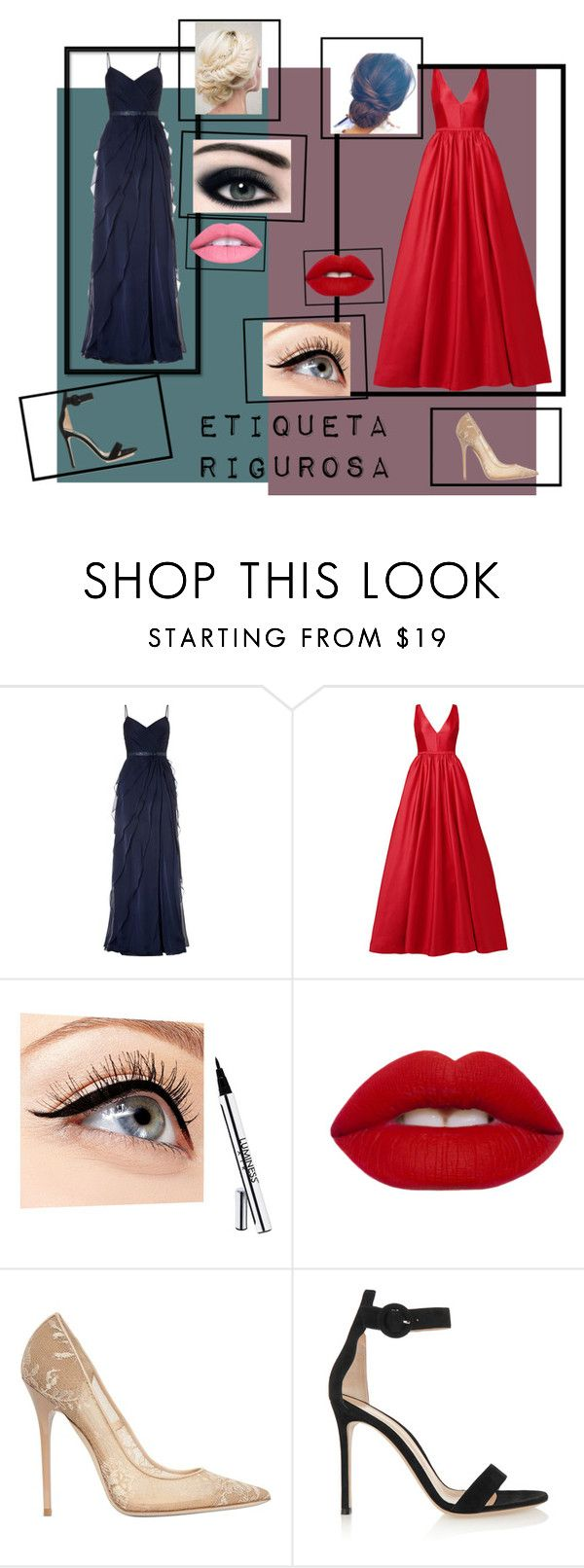 """""""ETIQUETA RIGUROSA"""" by elina-valerga on Polyvore featuring moda, Adrianna Papell, ML Monique Lhuillier, Luminess Air, Lime Crime, Jimmy Choo y Gianvito Rossi"""