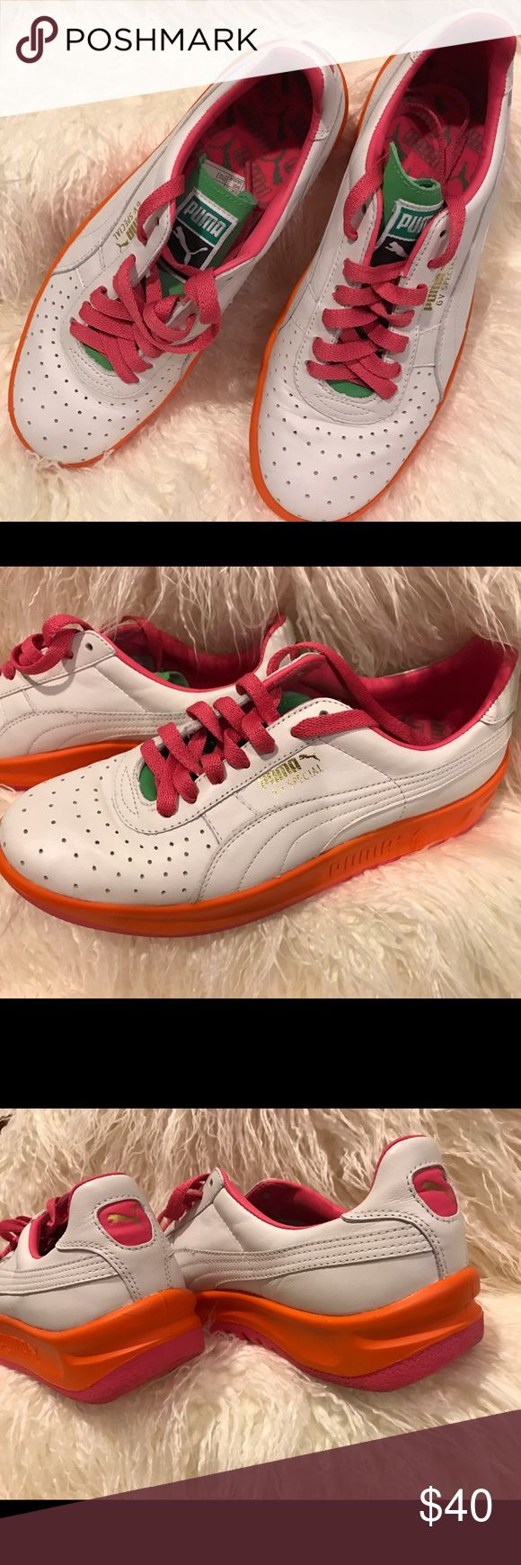 Puma Original: GV Special Hot Pack Women's Gently used Women's Puma Sneaker US 7.5         White/Pink/Orange                                                    Make me an offer I cannot resist!😉 Puma Shoes Sneakers