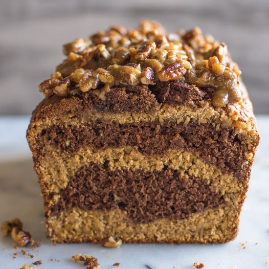 Layers of chocolate and banana bread, topped with a bit of pecan praline decadence.