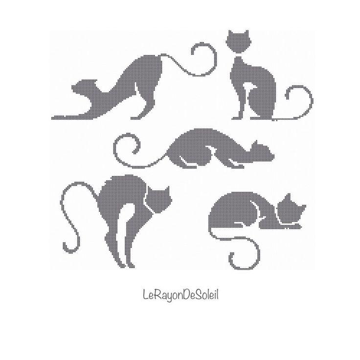 "cat-stuff-for-cats: "" Animal pet Cross stitch pattern black cats silhouette. cats """