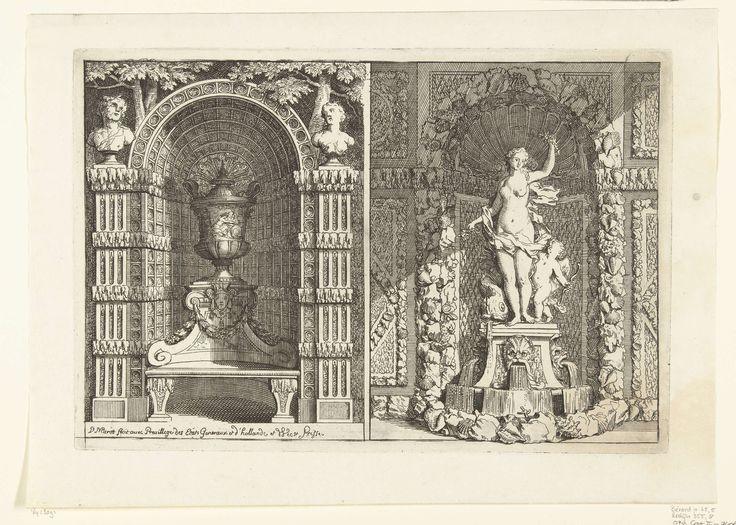 Daniël Marot (I)   Twee gebogen nissen, Daniël Marot (I), 1702   De linker nis met latwerk en een bank bekroond met een vaas, de rechter met een standbeeld van Venus en Cupido. Uit serie van 6 bladen.