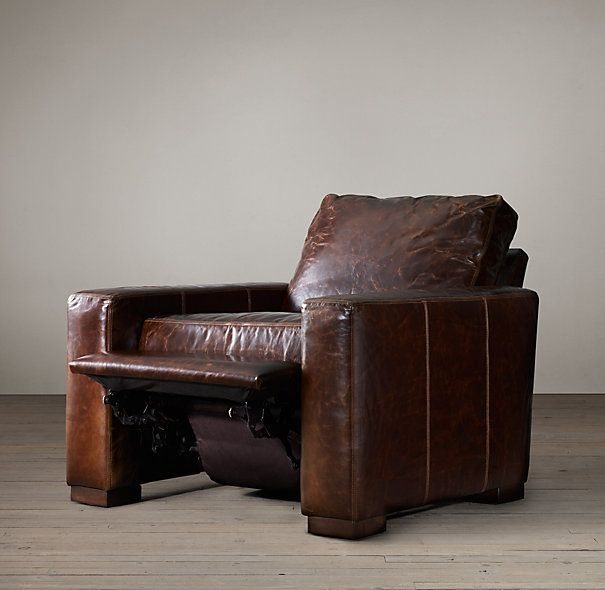 Restoration Hardware Maxwell Leather Recliner Living