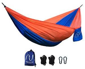 Amaca Travelax portatile e leggera - compreso sistema di fissaggio - in nylon paracadute resistente e antistrappo, ideale come amaca da giardino, da viaggio o da campeggio