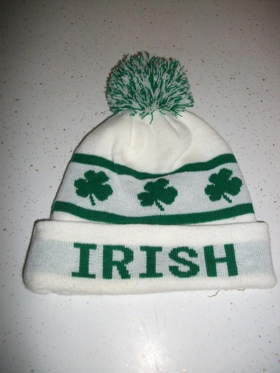 7dd3cda1044 Vintage Irish St Patricks Day Beanie Cap Hat Ski Snowboard Shamrock White Green  Skull Cap Winter 90s Retro Fashion Unisex Mens Womens
