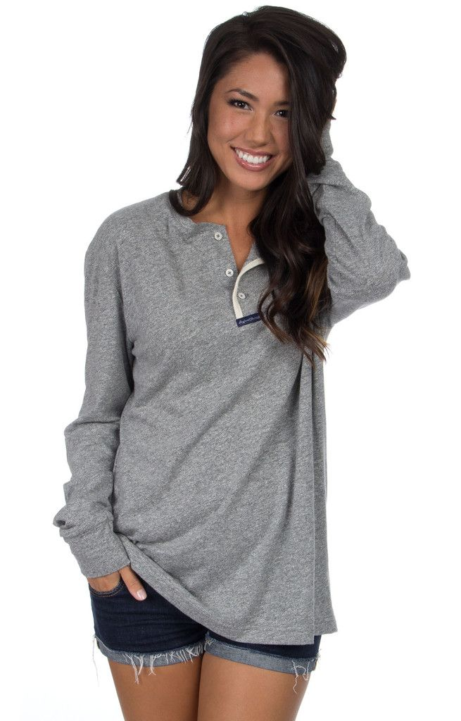 """Boy oh boy, we sure are excited about this henley style """"Boyfriend Tee""""! Plan to wear this little gem every day this fall! Back in navy and grey AND we added two new colors this season! Oversized fit."""