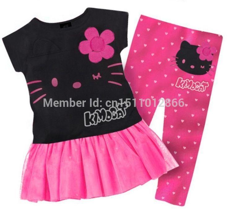 Розничная 2015 дети девушки одежда набор Лето hello kitty милые пижамы костюм baby дети детский мультфильм одежда устанавливает костюмы