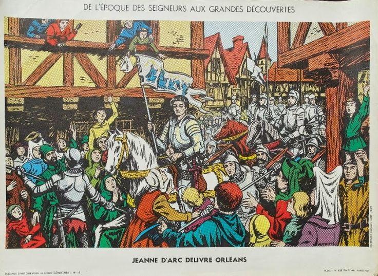 """Manuels anciens: Affiche histoire n°13 """"Jeanne d'Arc délivre Orléans"""""""