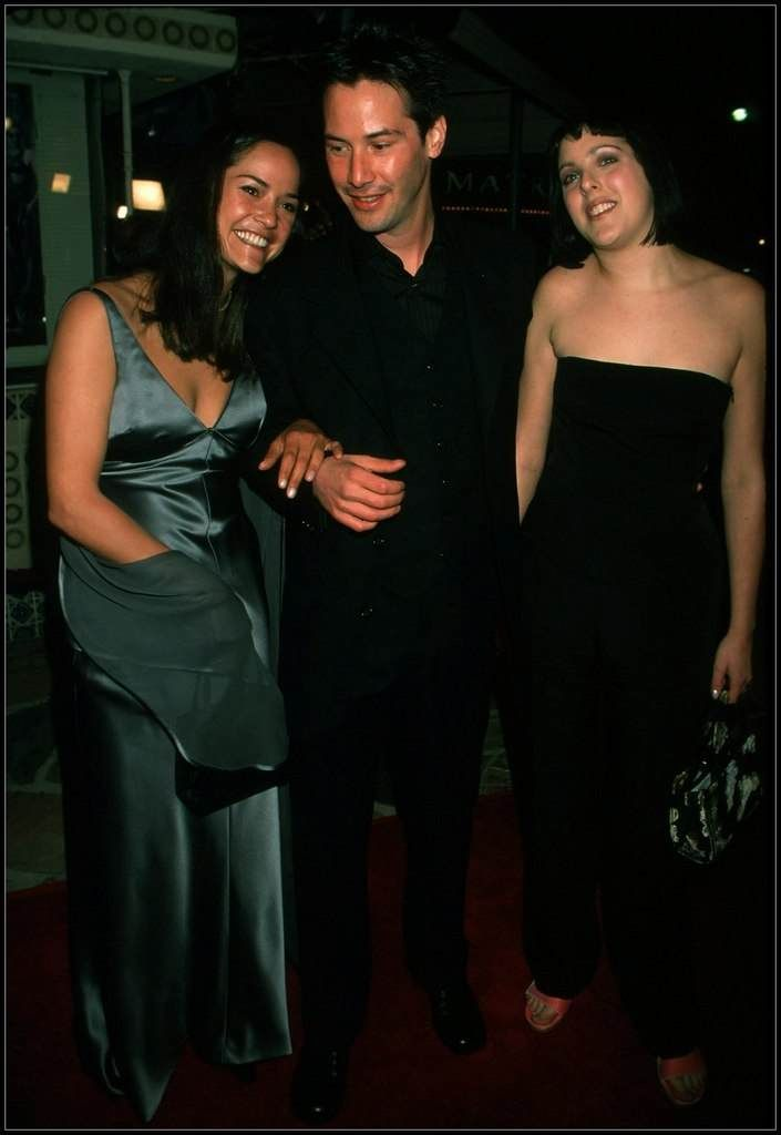 Keanu ♡♥ Reeves with sister Kim Reeves and stepsister Karina Miller at The Matrix Premiere