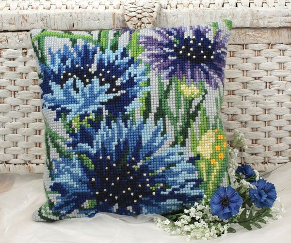 Collection d'Art:5.108 - Bleuets - large count cross stitch cushion kit - On Sale Now - 40% Discount - Original Retail Price $40.00