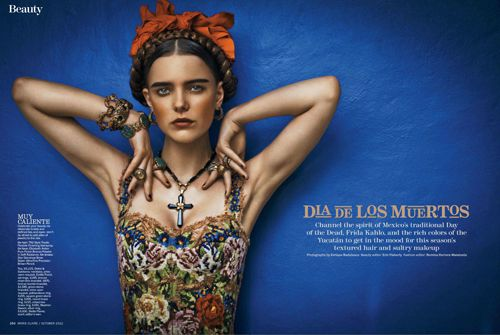 Frida Kahlo | Imogen Morris Clarke | Marie Claire October 2012 | Dia Los Muertos - 15 GlamTribale Nature Inspired Jewelry - Anne of Carversville Womens News