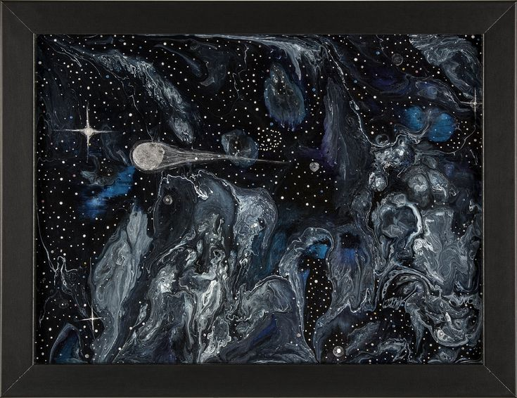 Fleeting Brilliance, Abstract Space Painting, Comet Art by Heather Miller