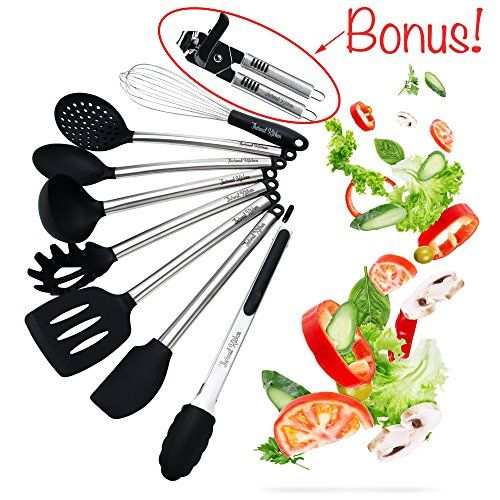 Thermal Kitchen Utensils – 8 Piece Cooking Utensil Set Silicone and Stainless Steel BONUS Can Opener - Professional BPA Free Heat Resistant Cookware Kit Suitable for Commercial Restaurant and Home. For product & price info go to:  https://all4hiking.com/products/thermal-kitchen-utensils-8-piece-cooking-utensil-set-silicone-and-stainless-steel-bonus-can-opener-professional-bpa-free-heat-resistant-cookware-kit-suitable-for-commercial-restaurant-and/