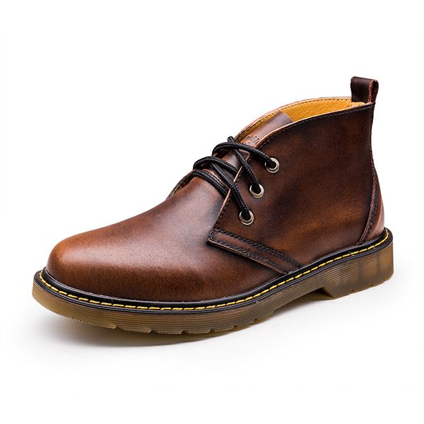 Men British Martin Boots Handmade Round Toe Boots Retro Lace Up Winter Boots - US$39.81