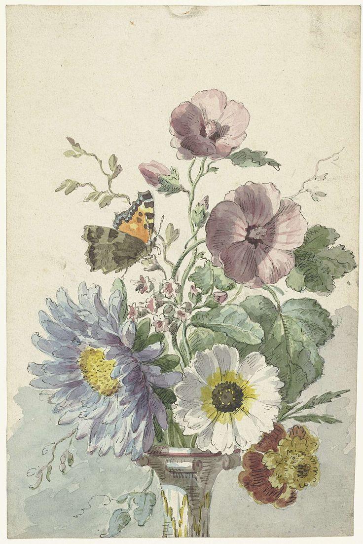 Rijksstudio: Boeket bloemen met een vlinder, Willem van Leen, 1763 - 1825