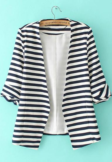 Black White Striped Long Sleeve Fitted Blazer