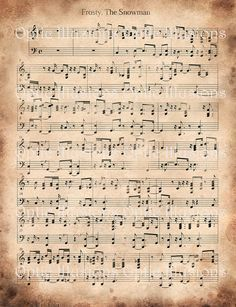 It is a graphic of Superb Vintage Christmas Sheet Music Printable,frosty the Snowman
