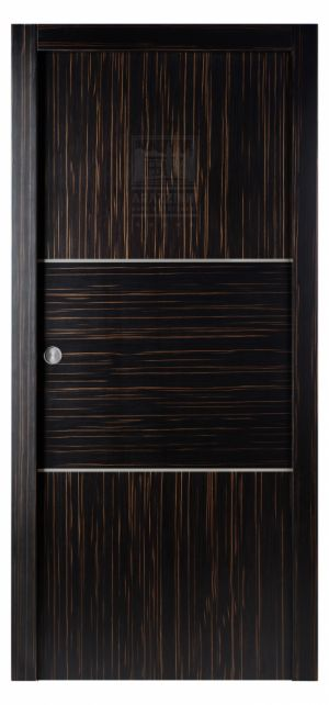 Arazzinni Astra Alum Interior Pocket Door Macassar. The Arazzinni Astra Alum interior door captures your attention immediately. Two vertical sets of natural veneer slabs are separated by a horizontal veneer slab. Each direction is then separated by bold aluminum strips to make the texture of both directions pop. The three pieces run to the border, creating a smooth, flowing feeling, so you can truly make a statement with the addition of this Astra door to your home. The Astra Alum interior…