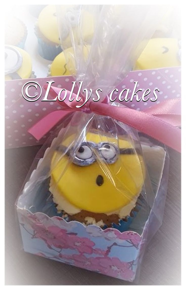 Minion cupcakes gift wrapped