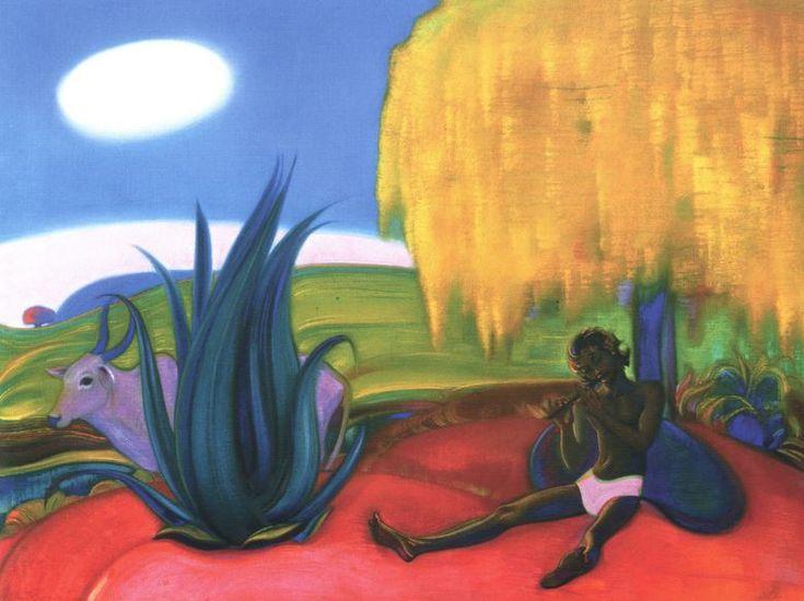 Святослав Рерих. Духовное искусство. Священная флейта 4.  91х124 Холст, темпера. 1968 Svetoslav Roerich