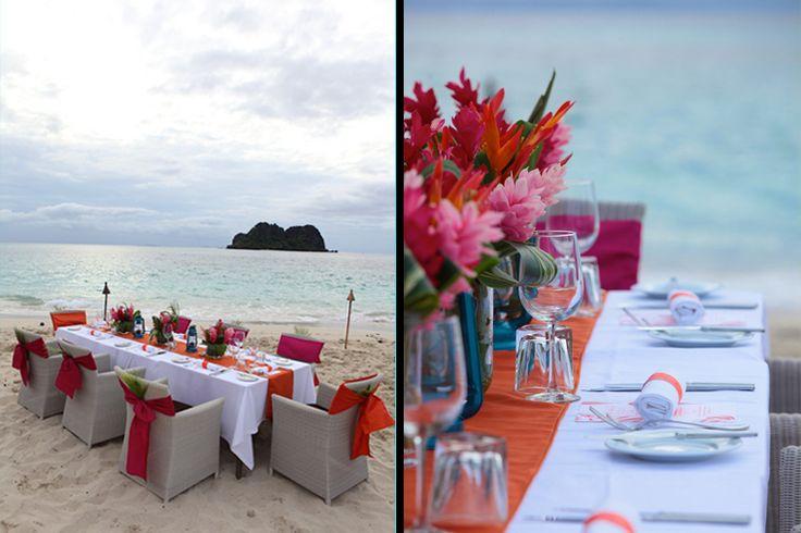 Coral themed beach wedding at Vomo Island, Zoomfiji wedding photography www.zoomfiji.com