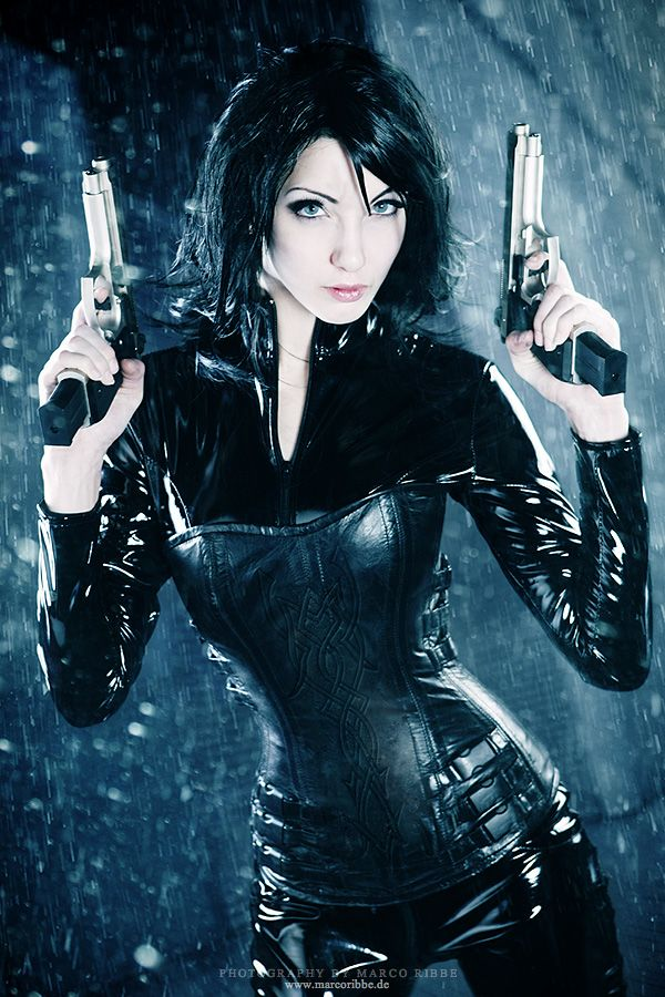 Selene from Underworld.  Her outfit rocks!  Who wouldn't want to cosplay a vampire gunslinger?