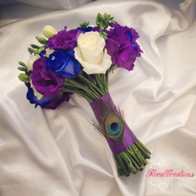 Peacock Theme Bouquets and Buttonholes