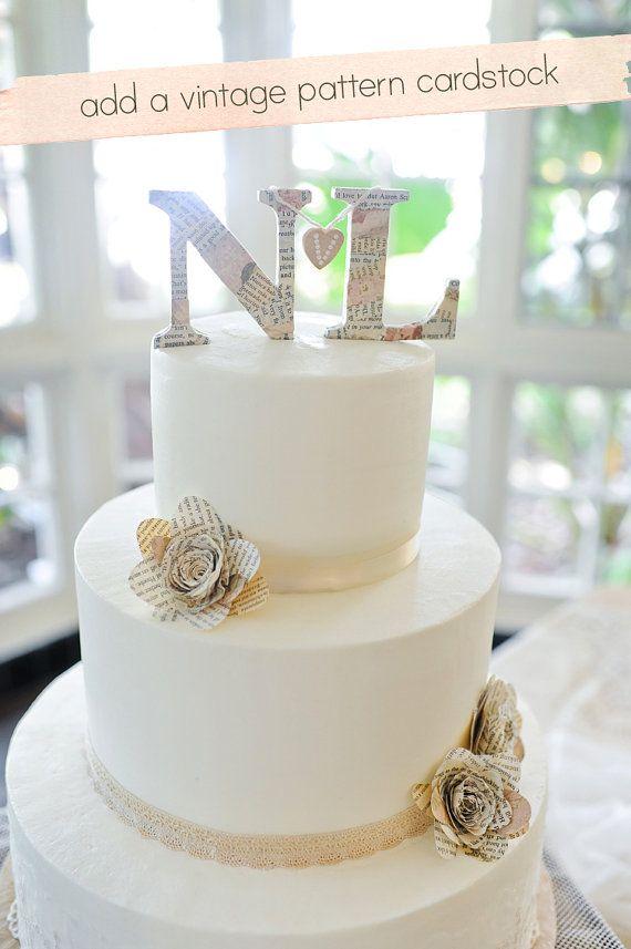 Monogram Wedding Cake Topper With Color By PetiteMint On Etsy 2220laurelridgecc Weddingcaketoppers