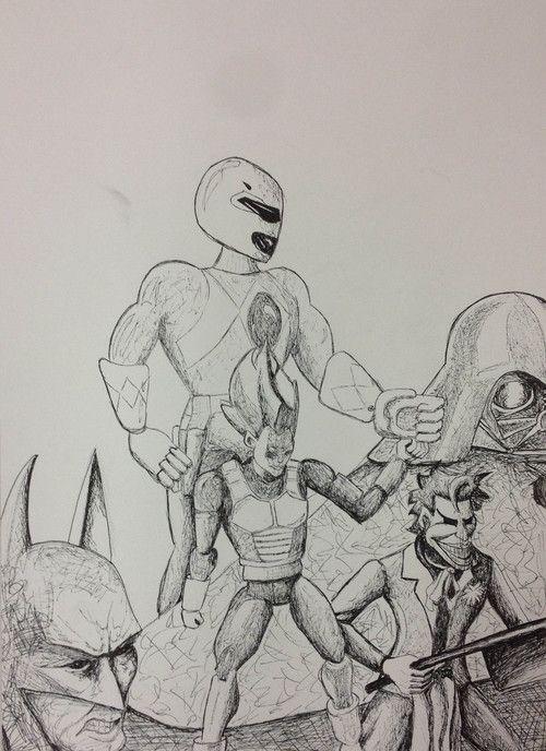 Pen drawing - Illustration - PRINT A3 format - Power Ranger - Batman - Vegeta - Darth Vader - Joker