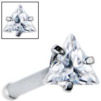 18 Gauge Clear Triangular Cubic Zirconia Nose Bone | Body Candy Body Jewelry