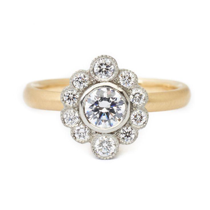 Olivia Scalloped Engagement Ring  #engagementring #vintagering #alternativebridal #diamondring #annesportun #preciouseveryday #vintagebridal