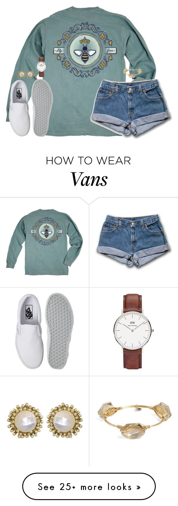 """""""I wish we could turn back time to the good ol' days"""" by kaley-ii on Polyvore featuring Queen Bee, Vans, Daniel Wellington, Kendra Scott and Bourbon and Boweties"""