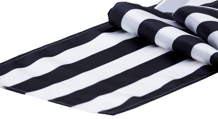 Stripe Satin Table Runner - Black & White ● As Low as $3.69 ● Available from www.cvlinens.com