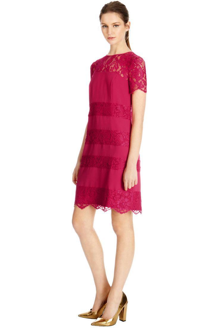 All | Pink Lace Stripe Tee Shirt Dress | Warehouse