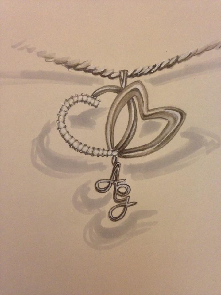 Disegno collana con iniziali. Gioielli Artigianali. #collana #gioielli #jewels #gioielliartigianali