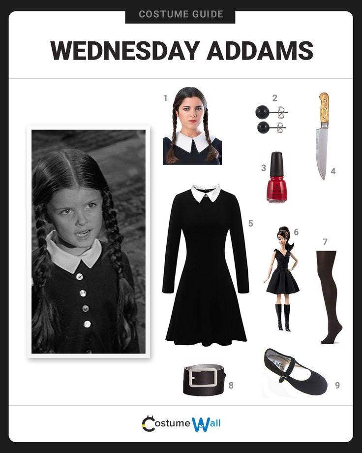 The best cosplay guide for dressing up like Wednesday Addams, the morbid daughter of Gomez and Morticia on The Addams Family TV show.
