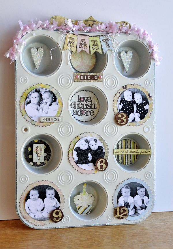 would be so cute in the kitchen and it re-purposes   the old cupcake pan!!!!