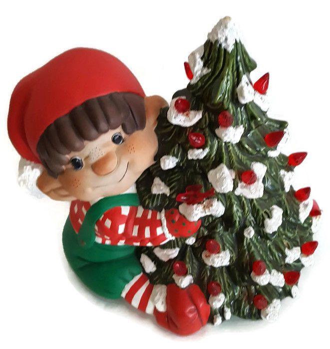 Vintage Rare Bb Ceramic Elf Boy Hugging Christmas Tree Light And Dove Tree Bb Elf Tree Ceramic Christmas Trees Christmas Decorations