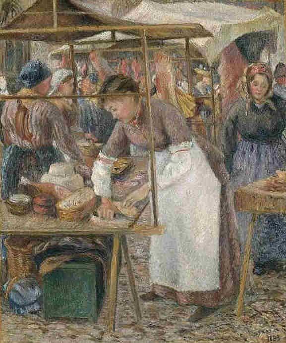 """Camille Pissarro (1830-1903) ~ """"La Charcutière au marché de Pontoise"""" 1883 - Tate Museum of London"""
