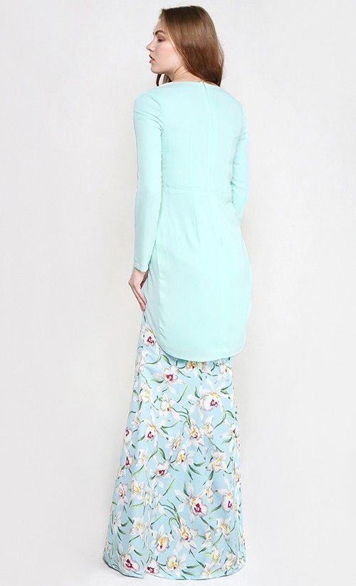 Daria Modern Draping Two-Piece Kurung in Mint Green with Soft Blue Print Skirt | FashionValet