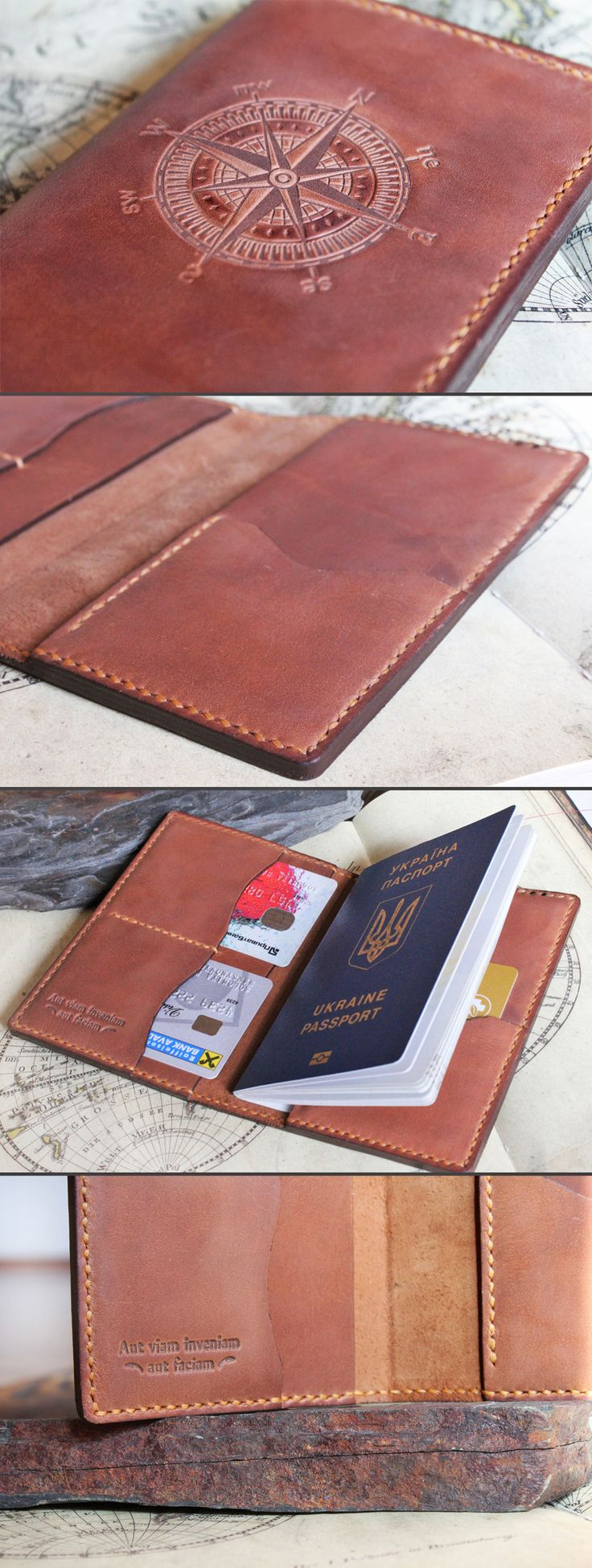 """The passport wallet is embossed with nice motivational quote inside. Keep your document safe in unique passport cover. This travel wallet is trully original gift idea for him! This passport holder is made of brown leather with slight vintage effect. """"Aut viam inveniam aut faciam"""" meen """"I shall either find a way or make one."""" The phrase has been attributed to Hannibal, when his generals told him it was impossible to cross the Alps by elephant. Mens gift, gift for him."""