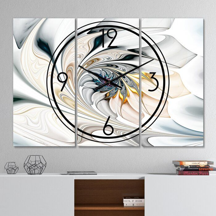 Oversized Stained Glass Floral Arts Wall Clock Oversized Wall Clock 3 Panel Wall Clock Wall Clock Modern
